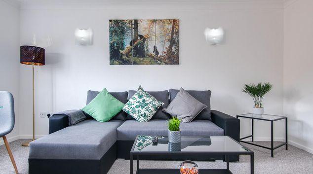 Living room at Brindley Holt Apartment, Jewellery Quarter, Birmingham