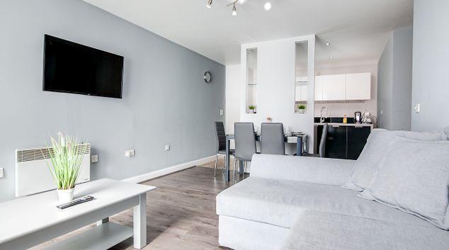 Living area at Silver Suite Apartments, Chinese Quarter, Birmingham