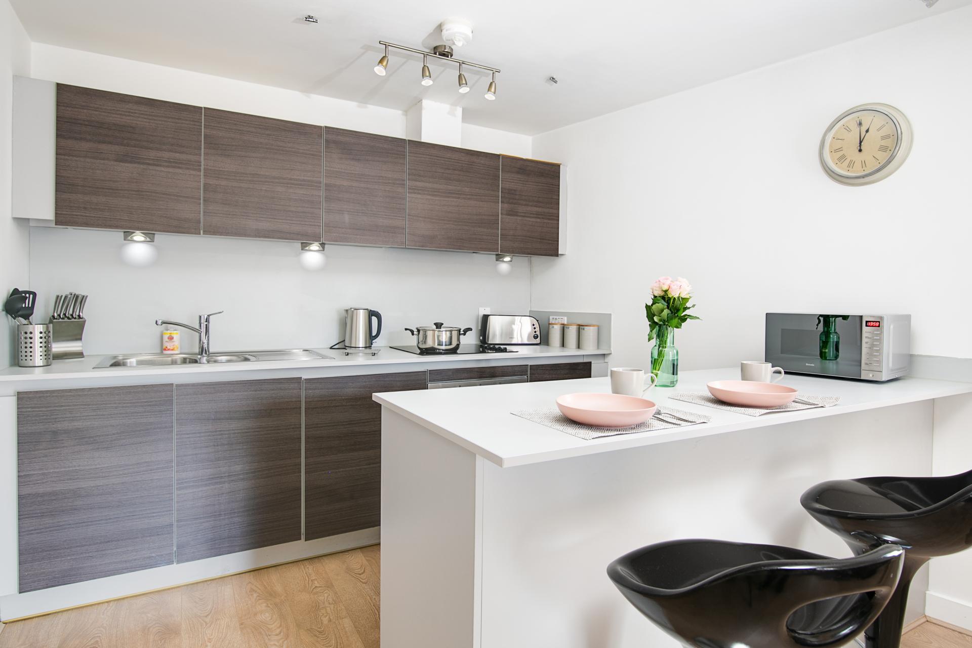 Kitchen at Canal Muse Apartment, Newtown, Birmingham