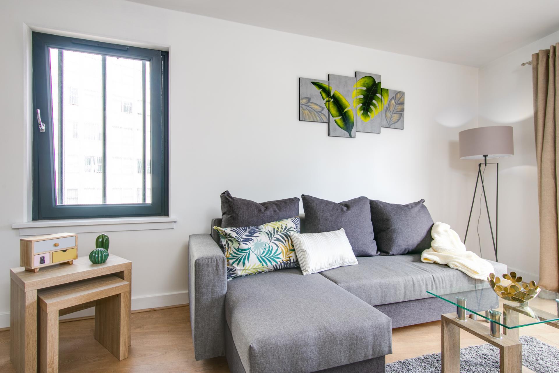 Sofa at Canal Muse Apartment, Newtown, Birmingham