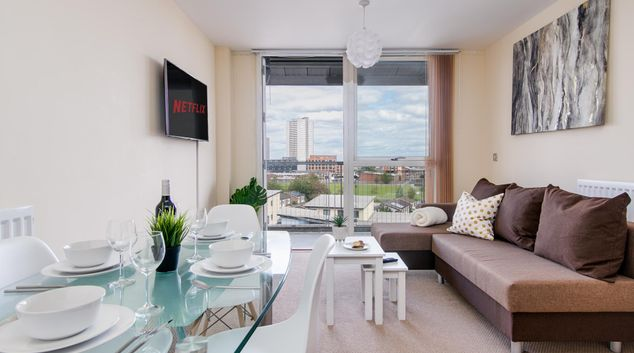 Open plan living area at Mason Way Apartment, Chinese Quarter, Birmingham