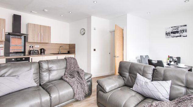 Living area at Mint Apartments, Jewellery Quarter, Birmingham