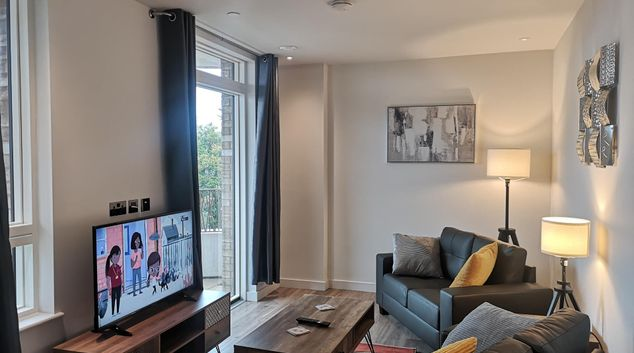 Living room at Stanmore Apartments, Stanmore, London