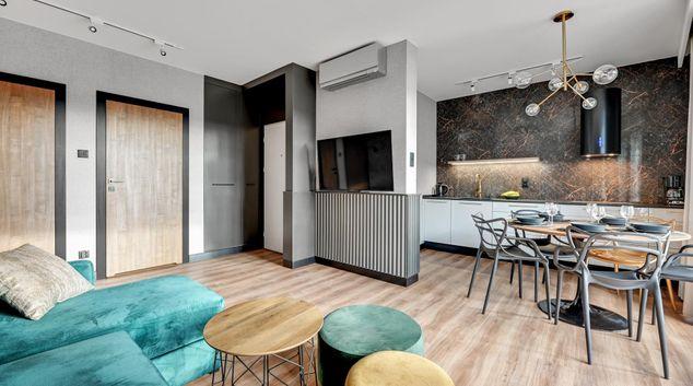 Living area at Grano Apartment, Wyspa Spichrzow, Gdansk
