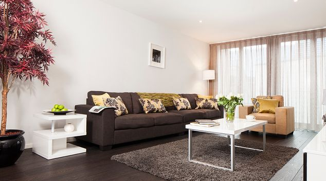 Living area at The Marker Residence, Grand Canal Dock, Dublin