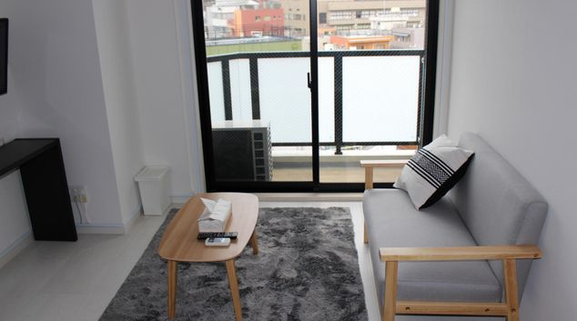 Living room at Nippori II Apartments, Arakawa, Tokyo