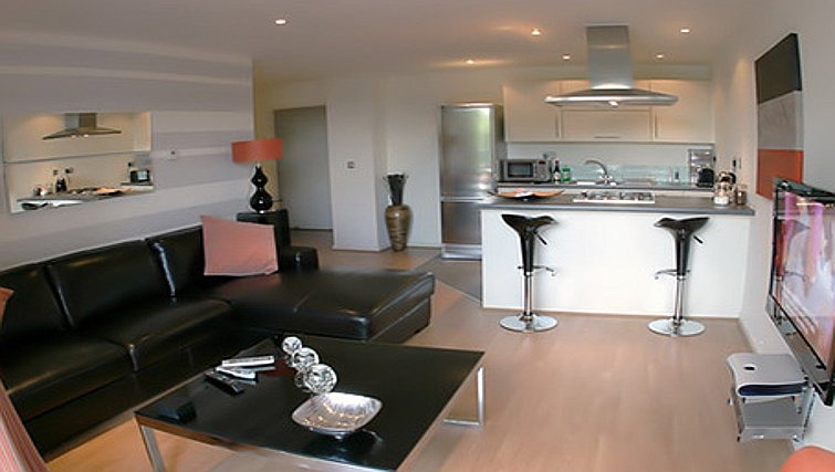 Open plan living area in Chelmsford Serviced Apartments