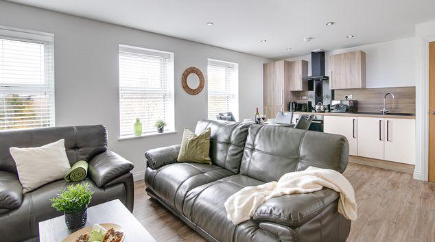 Living area at Mint II Apartments, Jewellery Quarter, Birmingham