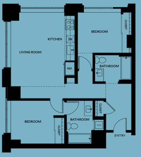 2 Bedroom Apartment at The Carson Apartments, North West District, Portland