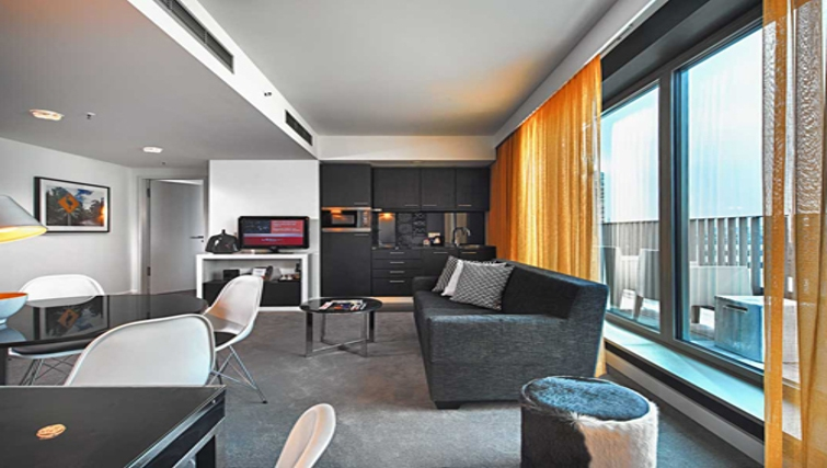 Striking living area at Adina Apartment Hotel Berlin Hackescher Markt