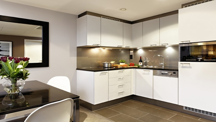 Bright kitchen in Adina Apartment Hotel Berlin Mitte