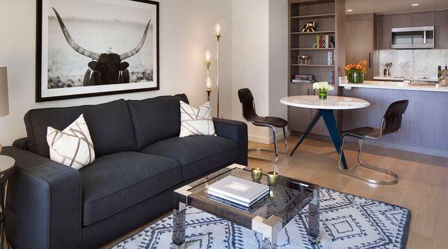 Living area at The Paramount 680 Apartments, Rincon Hill, San Francisco