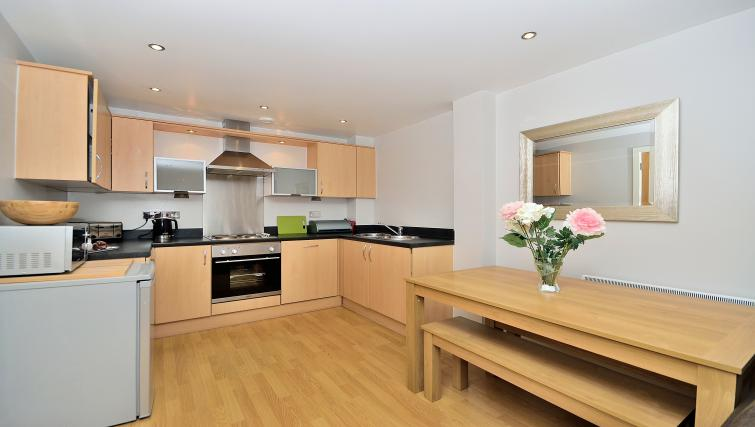 Bright kitchen at Chester Racecourse Apartments