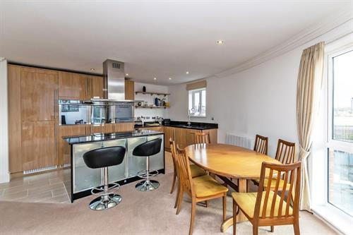 Open-plan kitchen at Chester Racecourse Apartments