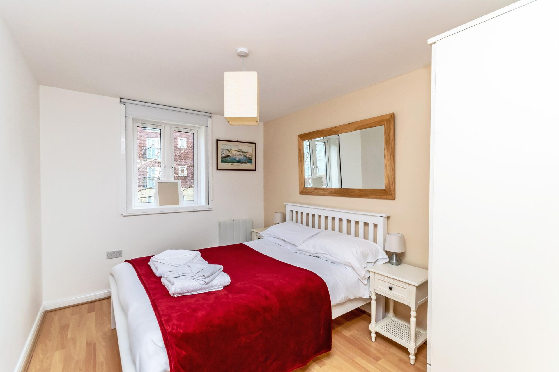 Bright bedroom at Chester Racecourse Apartments