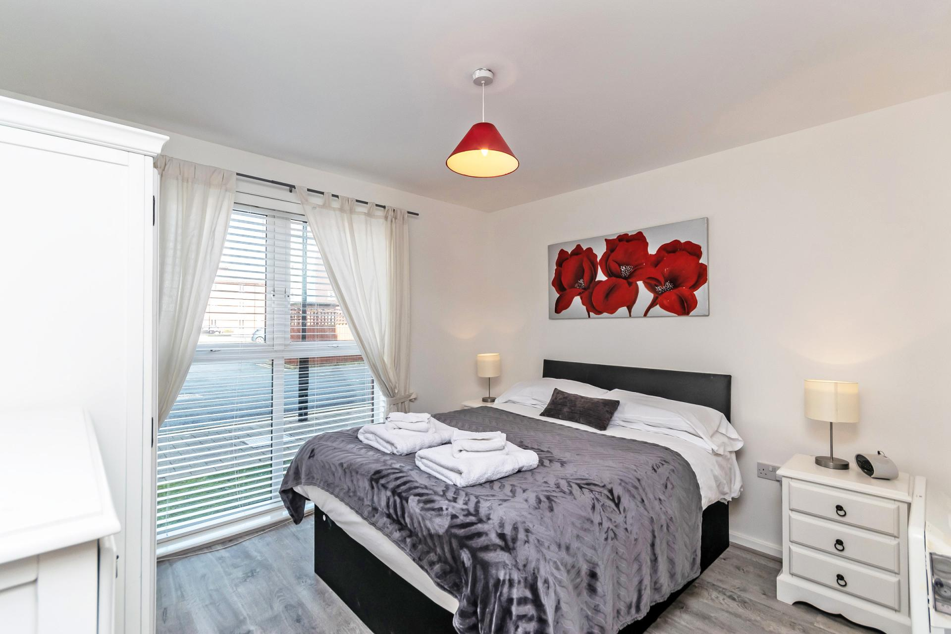 Comfortable bedroom at Chester Racecourse Apartments