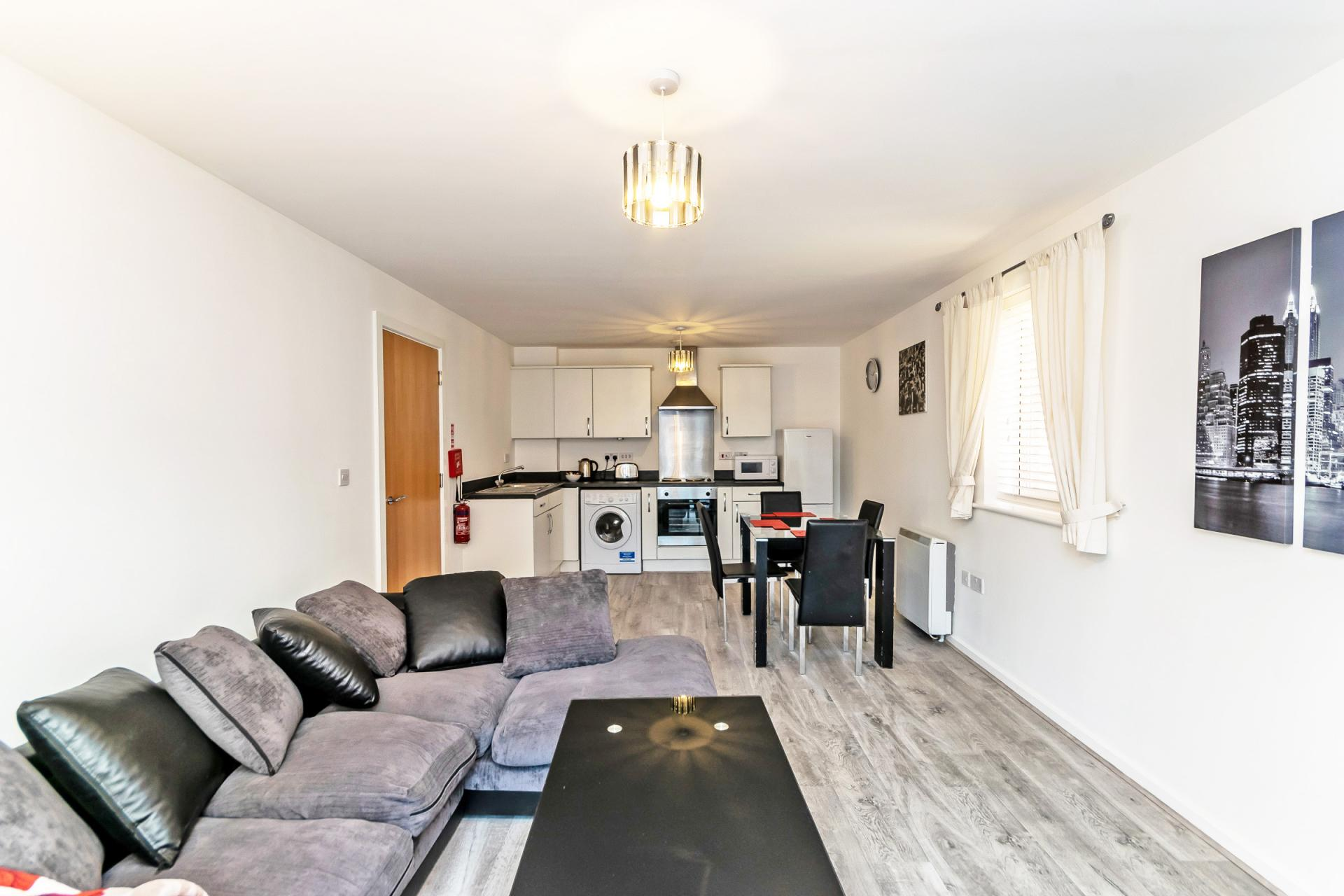 Open-plan living area at Chester Racecourse Apartments