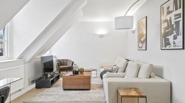 Living room at Princes Gate Court Residences, Kensington, London
