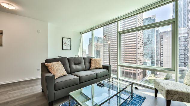 Living area at Optima Signature Apartments, Magnificent Mile, Chicago