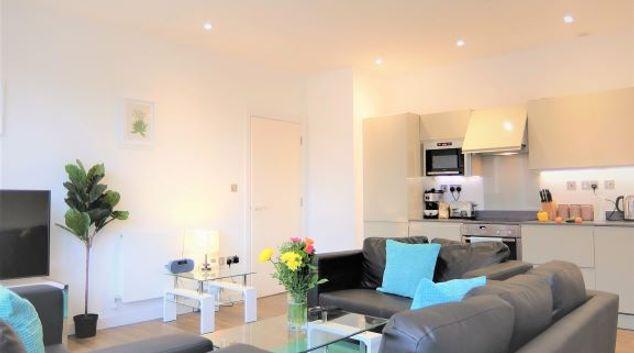 Living area at Richmond Princes Apartments, Richmond, London