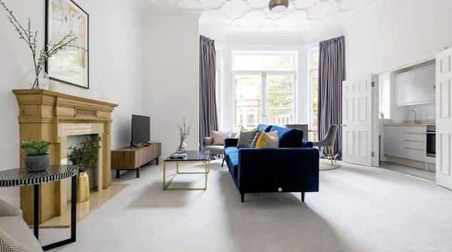 Living room at 3 Sloane Gardens Apartments, Belgravia, London