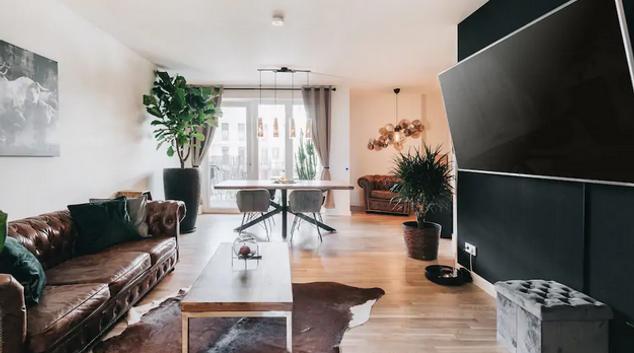 Living room at Postplatz Apartment, Altstadt, Dresden