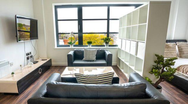 Living area at Kettleworks Residences, Jewellery Quarter, Birmingham