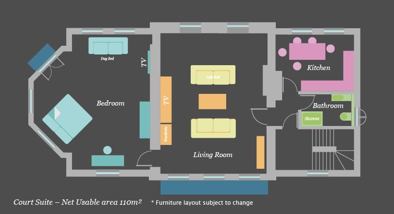 Courte suite at Craven House Apartments
