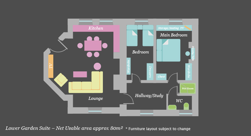 Lower garden suite at Craven House Apartments
