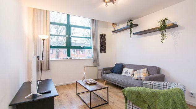 Living area at Goodman Street Apartment, Ladywood, Birmingham