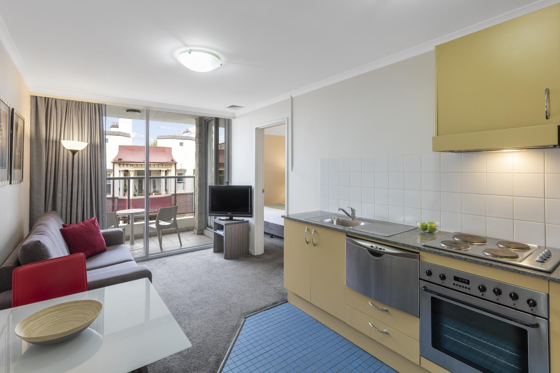 Equipped kitchen at Nesuto Chippendale Apartment Hotel, Chippendale, Sydney