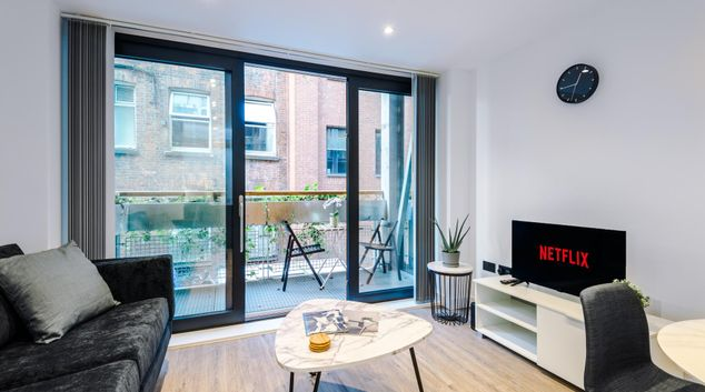 Living area at Hilltop Piccadilly Apartments, Spinningfields, Manchester