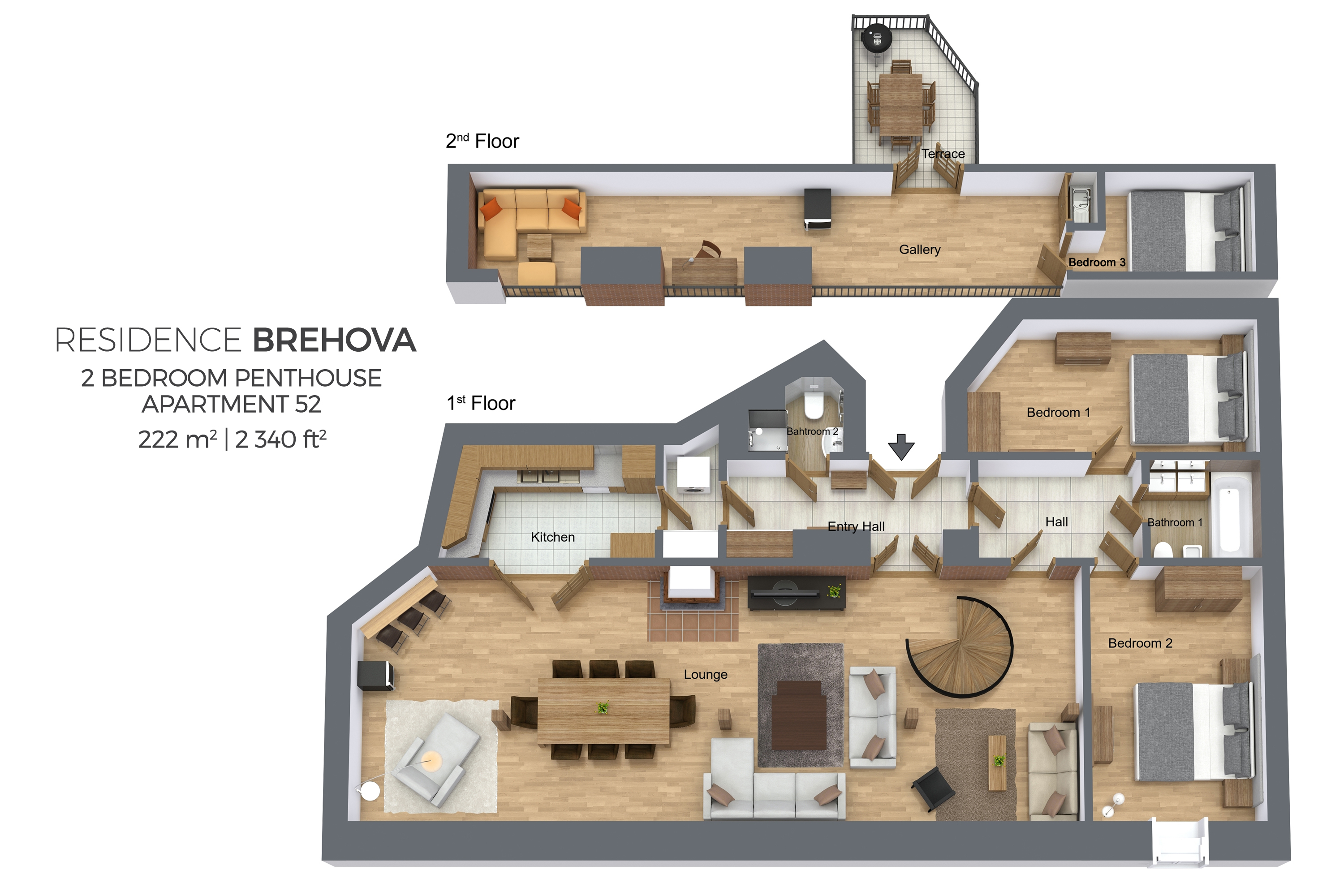 Pethouse floor plan at esidence Brehova Apartments