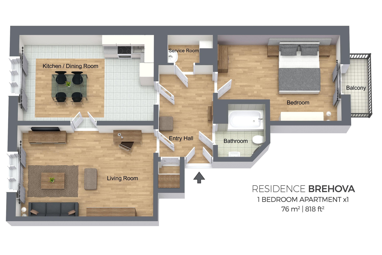 1 bed floor plan at Konvikt Apartment