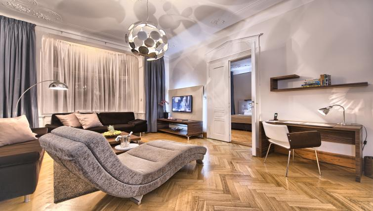 Living space at Residence Brehova Apartments