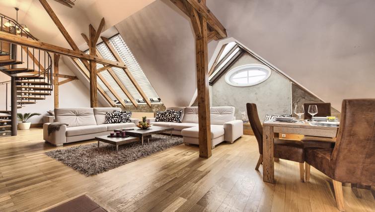 Stylish living area at Residence Brehova Apartments