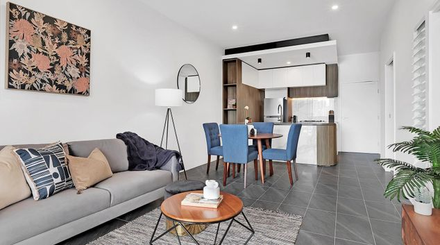 Living area at Halo South Bank Apartments, South Brisbane, Brisbane