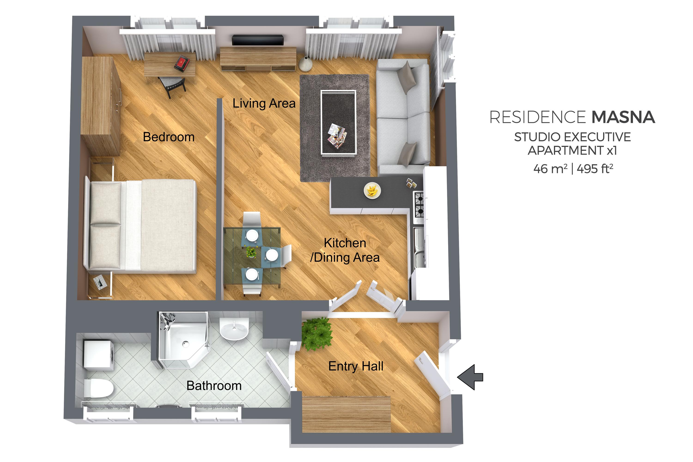 Studio executive floor plan at Residence Masna Apartments