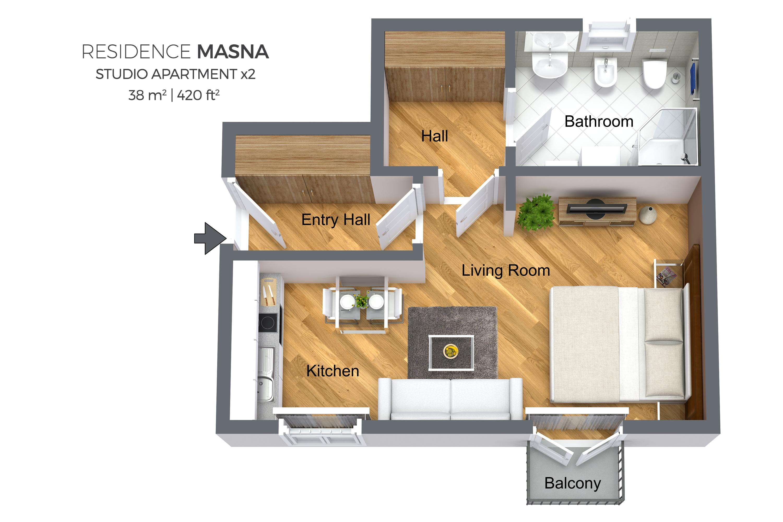 Studio floor plan at Residence Masna Apartments