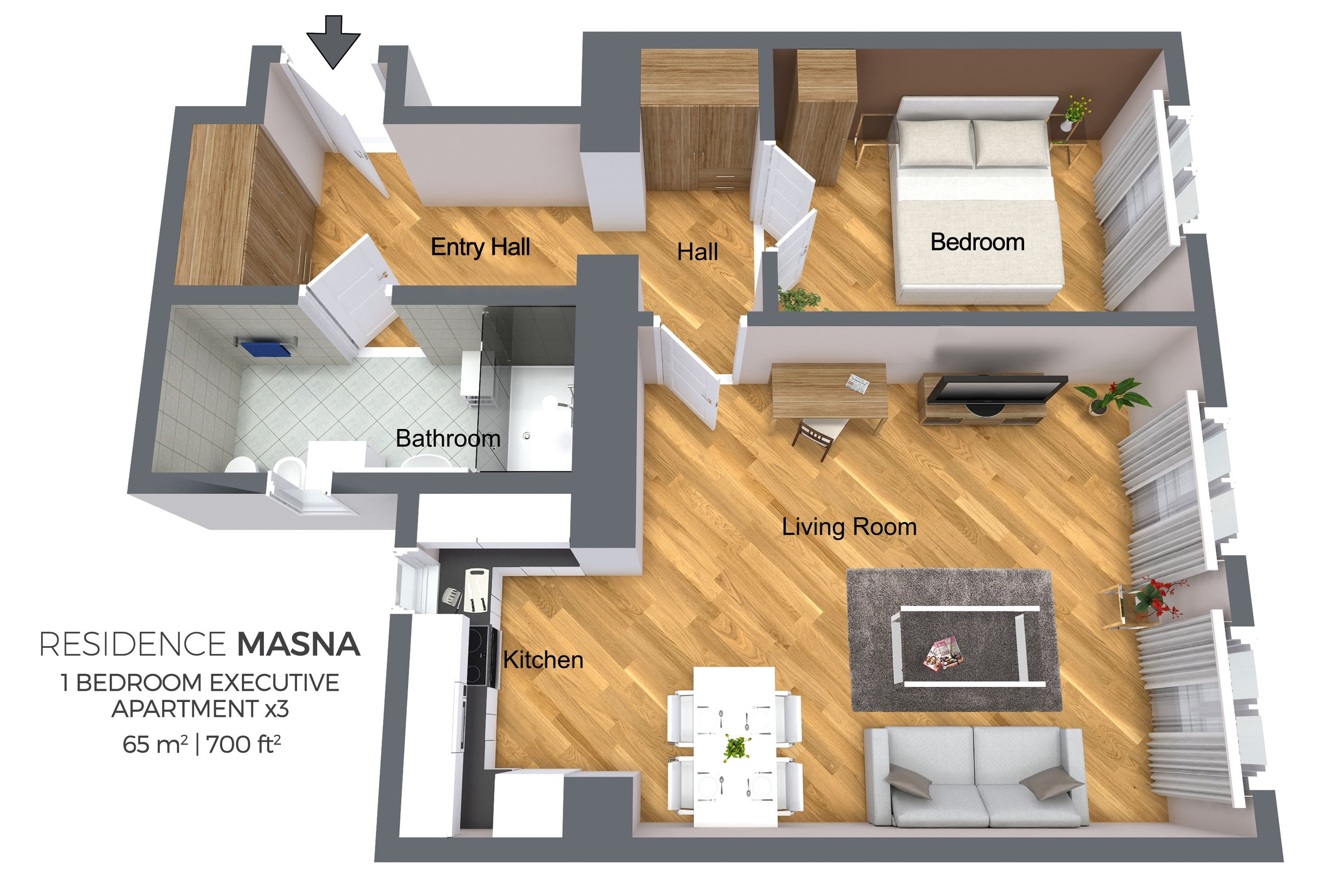 1 bed executive floor plan at Residence Masna Apartments