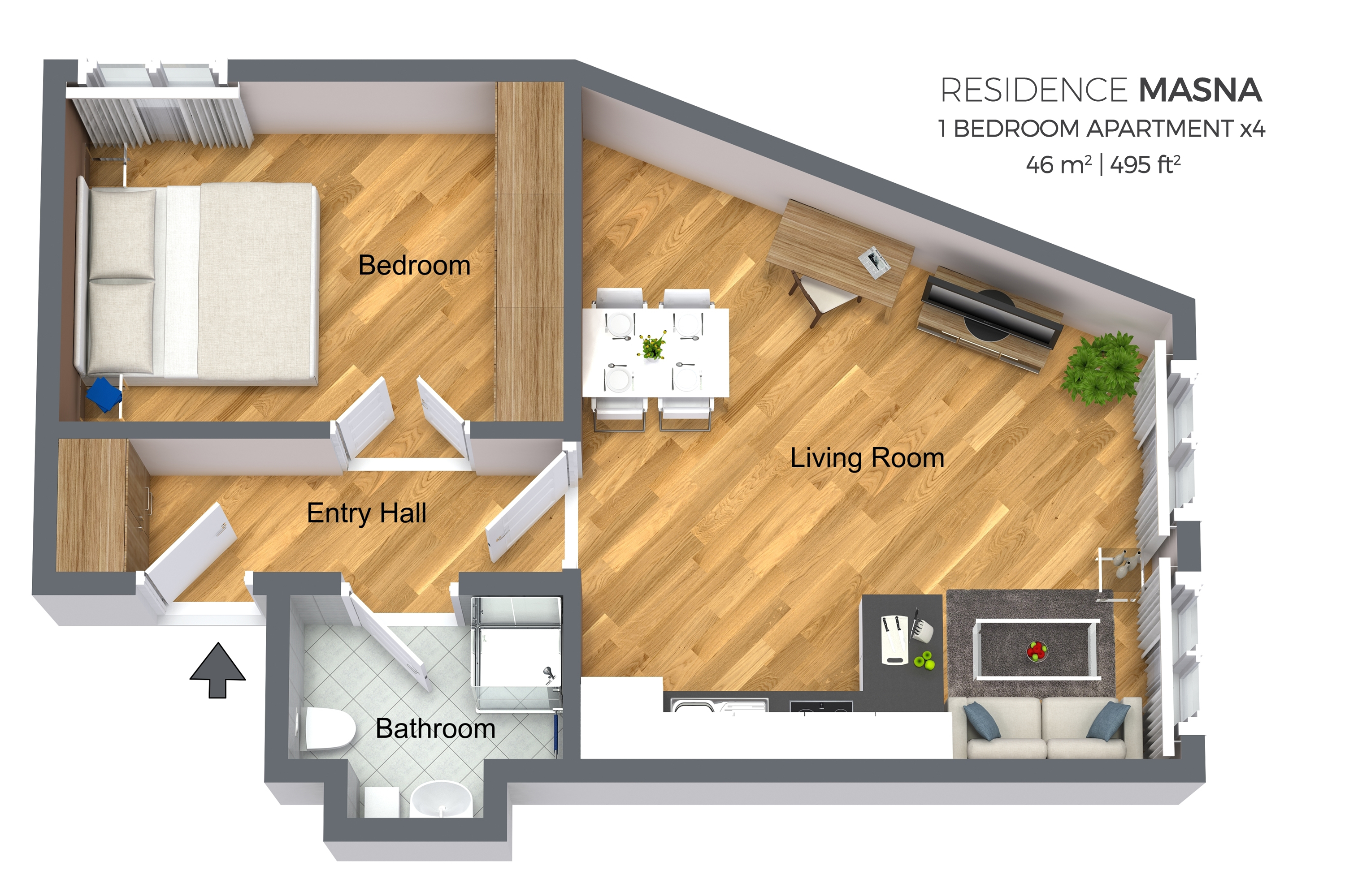 1 bed floor plan at Residence Masna Apartments