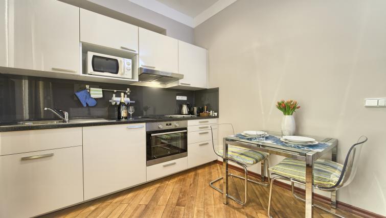 Studio kitchen at Residence Masna Apartments