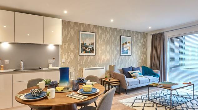 Living area at Charles Hope Birmingham Central Apartments, Westside, Birmingham