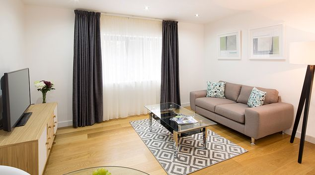 Living area at Cambric by Q Apartments, Whitechapel, London