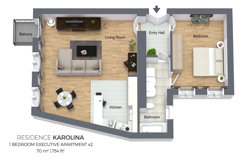 1 bed executive apartment at Residence Karolina Apartments