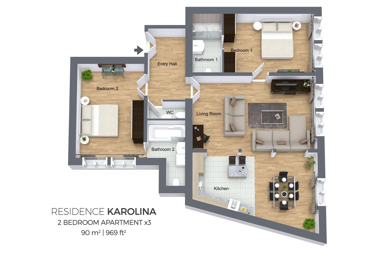 2 bed apartment at Residence Karolina Apartments
