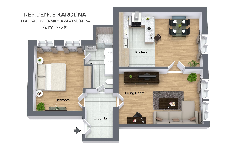 1 bed family apartment at Residence Karolina Apartments