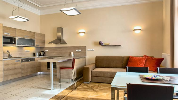 Open plan kitchen at Residence Karolina Apartments