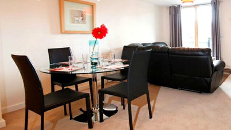 Modern dining area in Priory Place Apartments