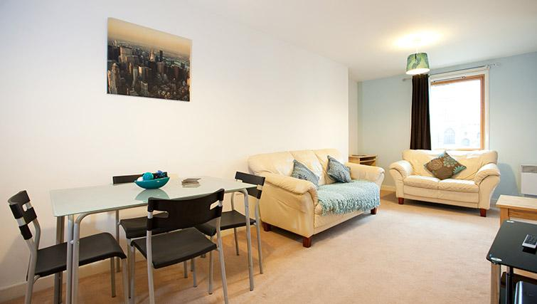 Living area at Priory Place Apartments